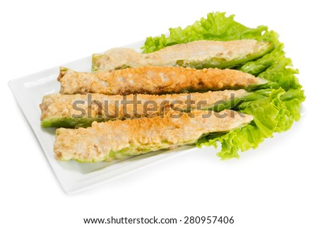 Pepper stuffed with meat cooked in tempura batter. From a series of Food Korean cuisine. - stock photo