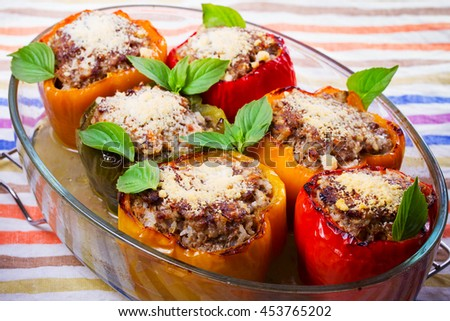 Pepper Stuffed with Meat, Rice and Vegetables