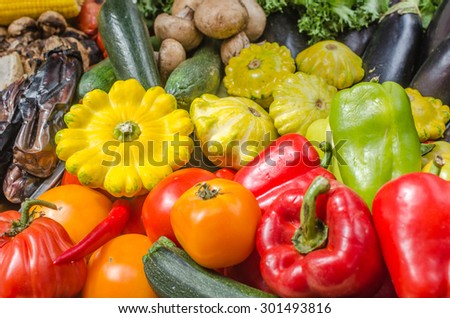 Pepper, tomatoes, aubergines, cabbages, zucchini, marrow close up - stock photo