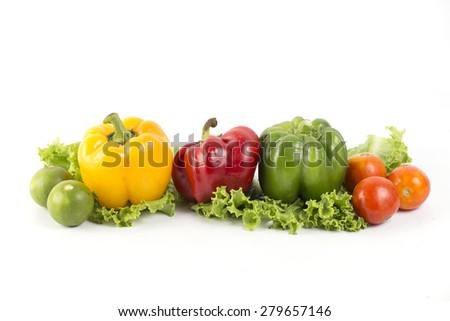 Pepper vegetables on a white background