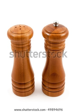 Pepperbox and salt cellar isolated on white background - stock photo