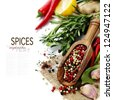 Peppercorn mix in wooden scoop, herbs and spices (with easy removable text) - stock photo