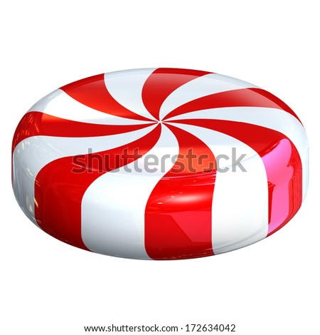 peppermint candy isolated on white - stock photo