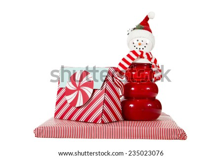 Peppermint decorations against a white background