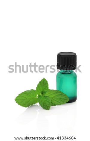 Peppermint herb leaf sprig with a green aromatherapy essence bottle, over white background.