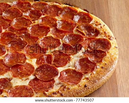 pepperoni pizza - stock photo