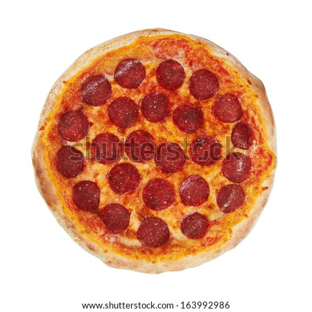 Pepperoni Pizza from the top, isolated on white background - stock photo