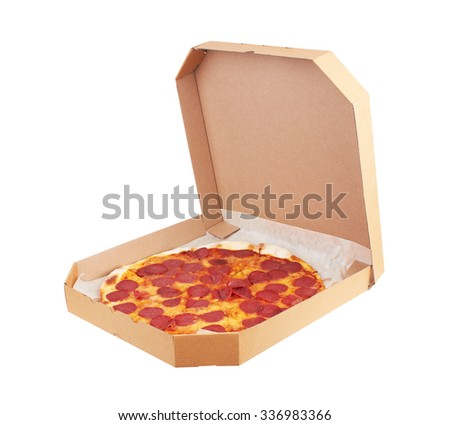 Pepperoni Pizza in box, isolated on white background - stock photo