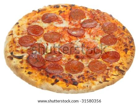 Pepperoni pizza isolated on white - stock photo