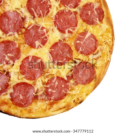 Pepperoni pizza, isolated on white - stock photo