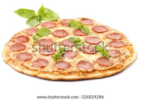Pepperoni Pizza, isolated on white background  - stock photo