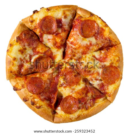 Pepperoni pizza isolated on white with clipping path - stock photo