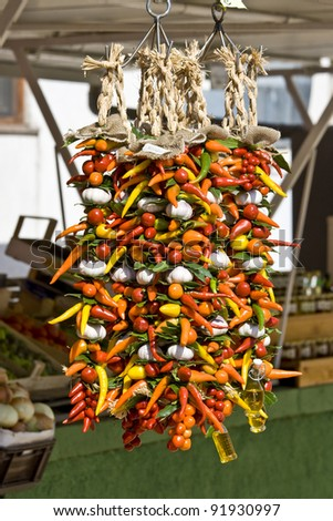 Peppers and garlic on Novigrad market - stock photo