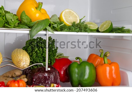 Peppers, herbs and other different vegetables inside a refrigerator - stock photo