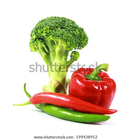 Peppers with Broccoli isolated on white background. - stock photo