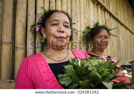 PERAK, MALAYSIA - JUN 10 2014: Temiar dancers seen before performing Sewang Dance. Temiar are the Senoic group of indigenous people of Malay Peninsular. - stock photo