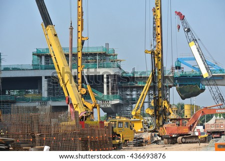 PERAK, MALAYSIA -MAY 26, 2016: Heavy machinery used at the construction site in Malaysia.