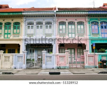 Peranakan shophouses in Katong, Singapore - stock photo