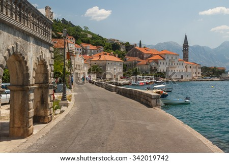 Perast is an old town on the Bay of Kotor in Montenegro. - stock photo