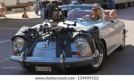 "PERAST, MONTENEGRO - MAY 20, 2013 - Pierce Brosnan on the set shooting ""November Man"". Perast, Montenegro, May 20 2013  - stock photo"