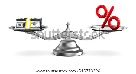 percent and money on scale. Isolated 3D image