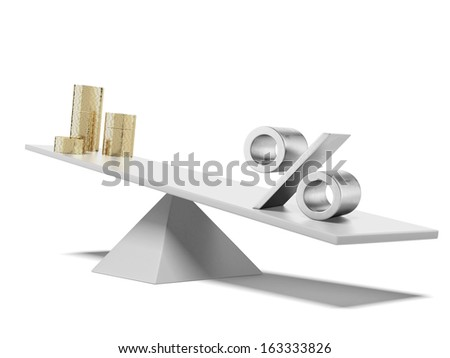 percent and money on scales - stock photo