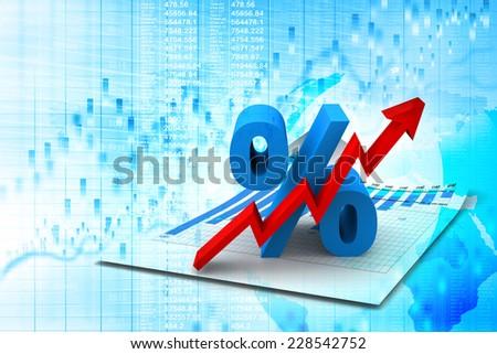 Percent Growing - stock photo