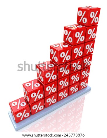 Percent growth - interest rate increase  - stock photo