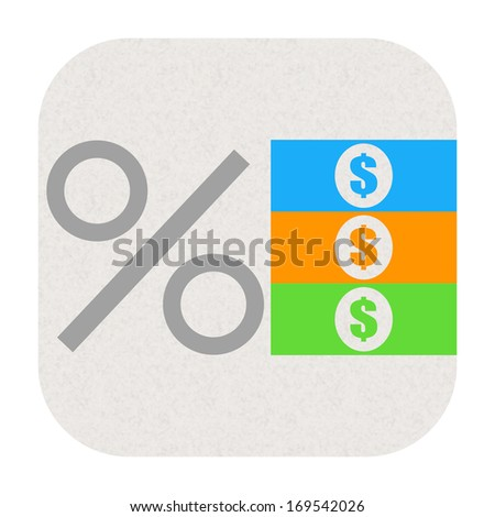 Percent icon with dollars - stock photo