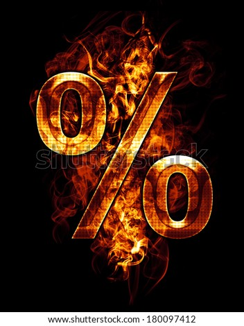 percent, illustration of  number with chrome effects and red fire on black background - stock photo