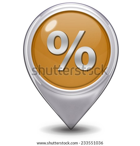 Percent pointer icon on white background