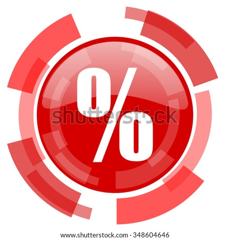 percent red glossy web icon