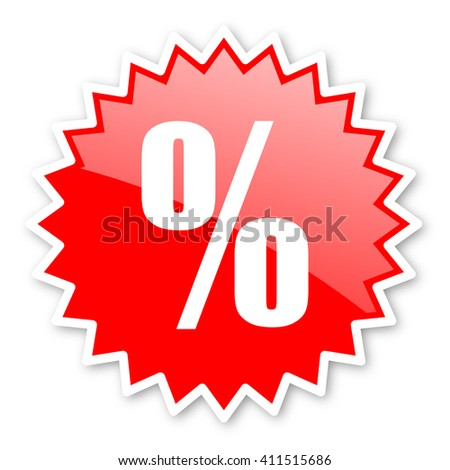 percent red tag, sticker, label, star, stamp, banner, advertising, badge, emblem, web icon - stock photo