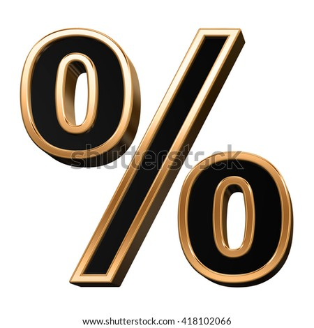 Percent sign from black with copper shiny frame alphabet set, isolated on white. 3D illustration.