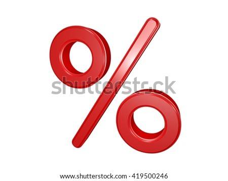 Percent sign isolated on white, 3d illustration