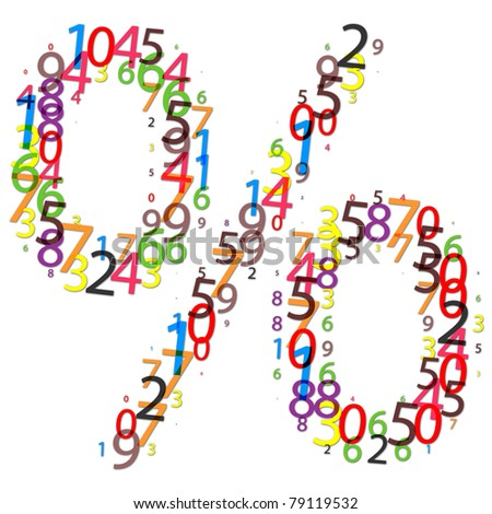 percent sign made of colorful digits