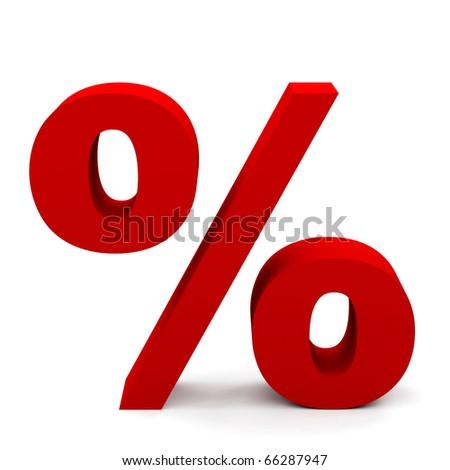 percent sign on white - stock photo