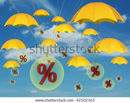 Percent signs in yellow balloons