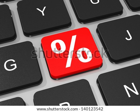 Percent symbol key on keyboard of laptop computer. Discount. 3D illustration.