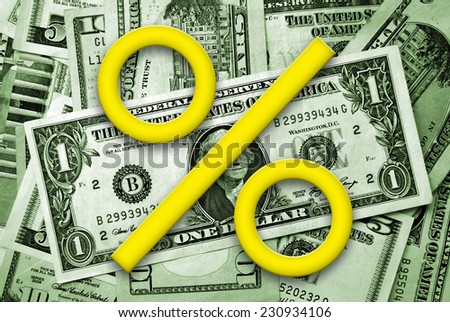 Percent symbol on money backgound - stock photo