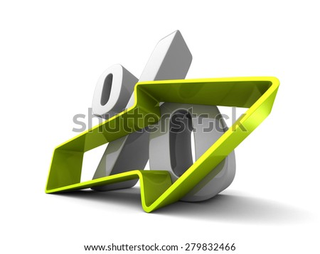 Percent Symbol With Growing Up Arrow. 3d Render Illustration - stock photo