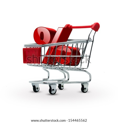 percentage discount in shopping cart - sales concept