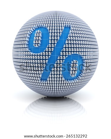 Percentage icon on globe formed by dollar sign, 3d render - stock photo