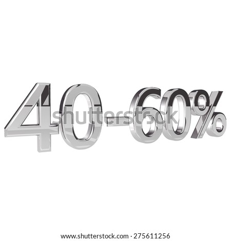 Percentage 40-60, isolated over white background, 3d render, square image