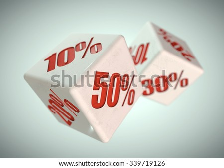 Percentage savings on dice side. Rolling dice to determine the percentage discount you can get. Concept for sale, deal, and discounted savings at shop or store.