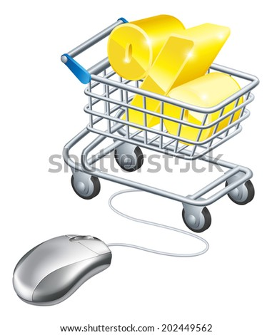 Percentage sign in a shopping trolley with computer mouse connected to it. Concept for shopping for best rates online for savings or credit card or similar - stock photo