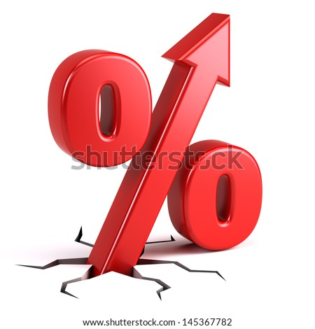 Percentage sign with UP arrow - stock photo