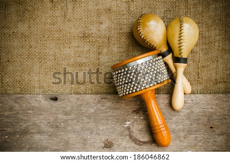 Percussion on sackcloth and old wood stock photo - stock photo