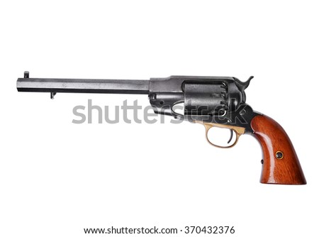 Percussion revolver isolated on white background - stock photo