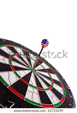 perfect aim made by a dart with american flag - stock photo